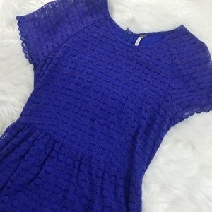 Free People Royal Blue Midi Texture Dress size 2